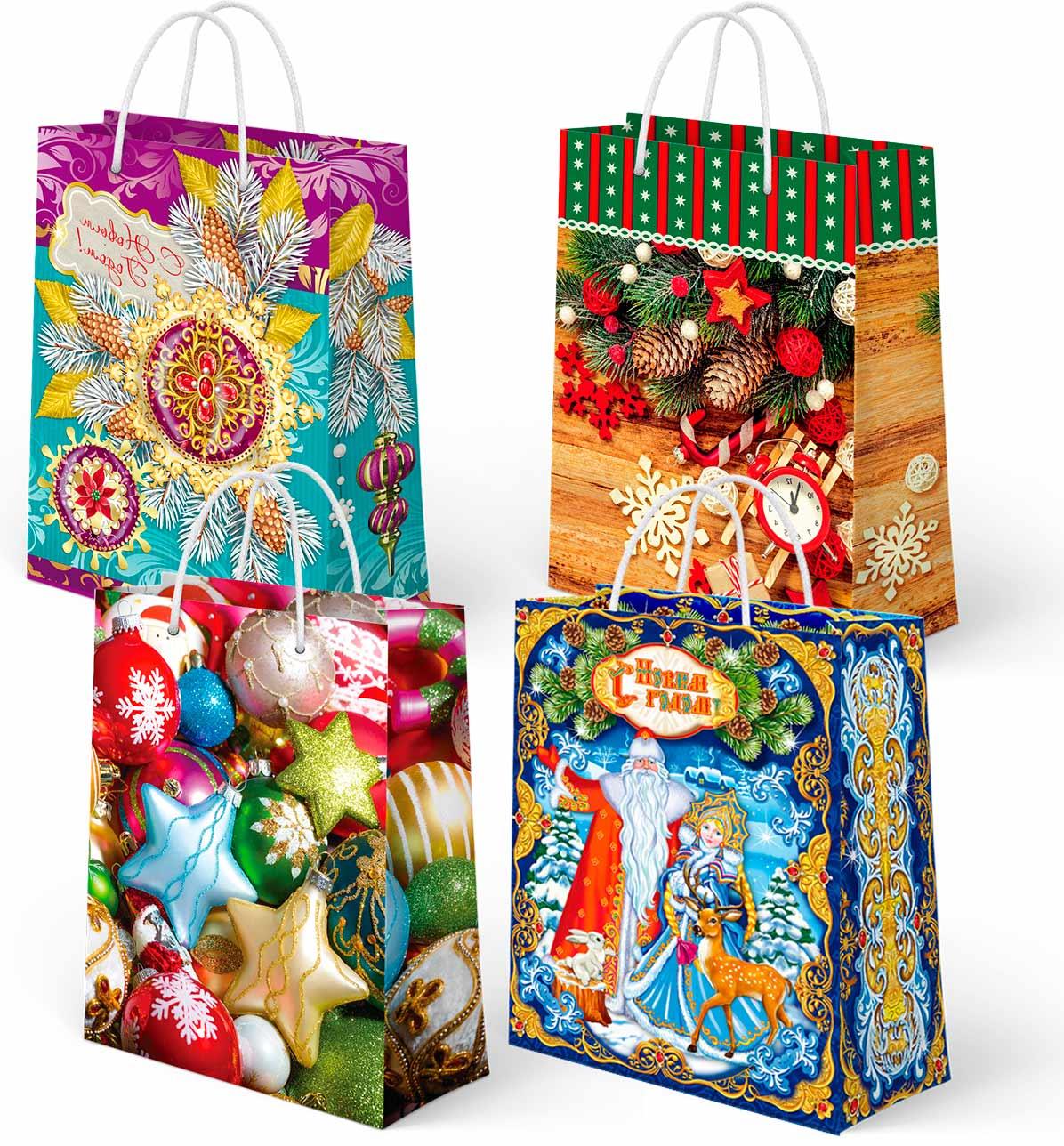 Пакеты подарочные ламинированные новогодние эластичный ремень оптом
