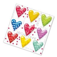 """Салфетки бумажные 2сл., 33x33, """"Сердца"""", 20шт."""