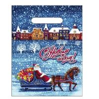 Новогодний подарочный пакет Снегопад 200х300 мм, 30 мкм, с вырубными ручками, новогодняя упаковка