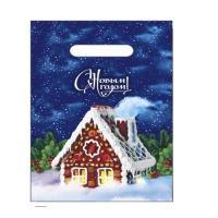 Новогодний подарочный пакет Пряничный домик 200х300 мм, 30 мкм, вырубные ручки, новогодняя упаковка