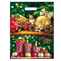 Подарочный пакет Праздник 31х40, 60 мкм, ПВД, прорубные ручки