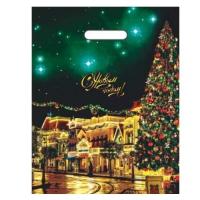 Подарочный новогодний пакет Фиеста 31х40, 60 мкм, ПВД, прорубные ручки