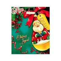 Новогодний подарочный пакет Потеха 38х47 см, 60 мкм, вырубные ручки, новогодняя упаковка