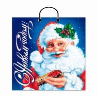 """Новогодний подарочный пакет """"Новый год"""" 40х44 см, 100 мкм, пластиковые ручки, новогодняя упаковка"""