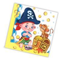 """Салфетки бумажные 3сл., 33x33, """"Пиратская вечеринка"""", 20шт."""