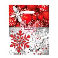 """Новогодний подарочный пакет """"Ледяной бисер"""" 31х40 см, 60 мкм, новогодняя упаковка"""