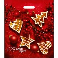 """Новогодний подарочный пакет """"Глазурь"""" 40х47 см, 45 мкм, вырубные ручки, новогодняя упаковка"""