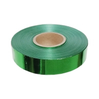 Лента подарочная металлизированная зеленая, 20мм/50м