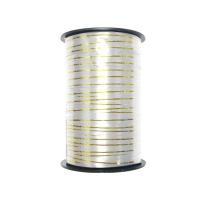 Лента подарочная с золотой полосой белая, 5мм/250м