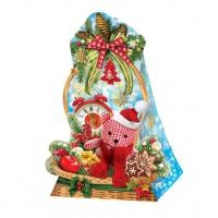 Новогодняя подарочная коробка «Корзинка ретро» 800 гр, новогодняя упаковка