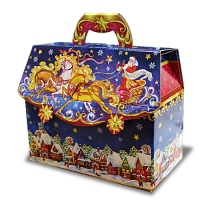 Новогодняя подарочная коробка «Портфельчик-тройка с тиснением» 1800 гр, новогодняя упаковка для конфет