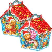 """Новогодняя упаковка """"Избушка Ледяная"""" 1500 гр, картонная подарочная коробка"""