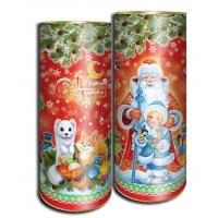 """Подарочные картонные тубы """"Дед Мороз и внучка"""" 1500 гр, новогодняя упаковка"""
