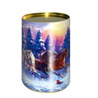 """Подарочные картонные тубы """"Лесная сказка"""" 700 гр, новогодняя упаковка"""