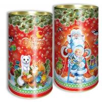 """Подарочные картонные тубы """"Дед Мороз и внучка"""" 1000 гр, новогодняя упаковка"""