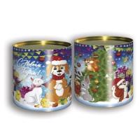 Подарочные картонные тубы «Дружок» 500 гр, новогодняя упаковка