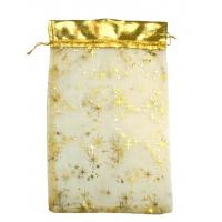Подарочный мешочек из органзы Кайма Золотой, 350х250 мм, подарочная упаковка