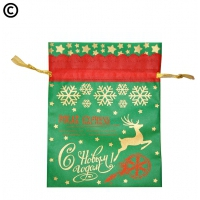 Подарочный мешок ЭКСПРЕСС зеленый, 1500 гр, для подарков | Текстильная новогодняя упаковка