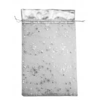 Мешочек из органзы Кайма Серебряный, 350х250мм, текстильная упаковка для подарков