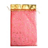Подарочный мешочек из органзы Кайма Красный 300х200мм , подарочная упаковка