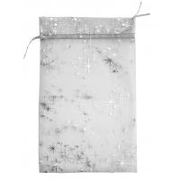 Мешочек из органзы Серебряный, 300х200мм, для подарков