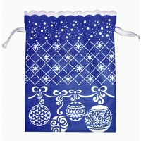 Новогодний подарочный мешок «Шарики» синий с белой каймой