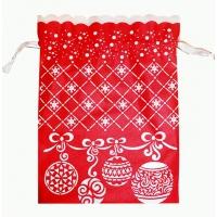Мешок красный с белой каймой «Шарики», для подарков