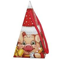 "Новогодняя подарочная коробка ""Пирамидка-Символ"" 300 гр, новогодняя упаковка 2019 с символом года свиньи"