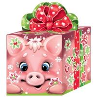 """Новогодняя подарочная коробка """"Кубик Символ"""" 400 гр, новогодняя упаковка 2019 года свиньи"""