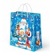 """Бумажные подарочные пакеты """"Новогодний Микс №2"""", М, новогодние с веревочными ручками"""