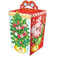 """Новогодняя подарочная коробка """"Праздник"""" 800 гр, новогодняя упаковка 2019 года свиньи"""