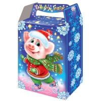 Новогодняя подарочная коробка «На катке» 1000 гр, новогодняя упаковка 2019 с символом года свиньи