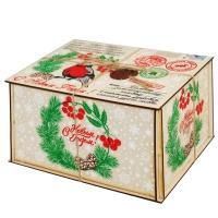Посылка от Деда Мороза, 1500 гр, новогодняя упаковка из фанеры