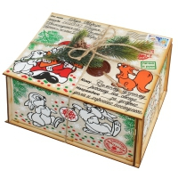 Посылка от Деда Мороза, 1000 гр, новогодняя упаковка из фанеры для детских подарков