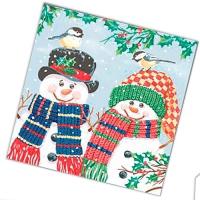"""Салфетки бумажные 3сл., 33x33, """"Пара снеговиков"""", 20шт."""