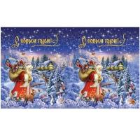 Подарочные картонные тубы «Традиция» 1000 гр, новогодняя упаковка