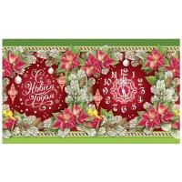 Подарочные картонные тубы «Еловый узор» 1000 гр, новогодняя упаковка