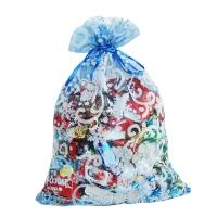 """Мешочек из флока синий """"Шишки"""", 1000 гр, текстильная новогодняя упаковка для подарков, конфет"""