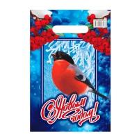 """Новогодний подарочный пакет """"Снегирёк"""" 20х30 см, 30 мкм, вырубные ручки, новогодняя упаковка"""
