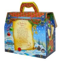 """Подарочная коробка """"Портфельчик-Ёлочка"""" с золотым тиснением 1600-1800 гр, картонная новогодняя упаковка для конфет"""