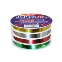 Ленты подарочные на шпуле 4шт 10мм*3м, зеленый, красный, серебро, золото