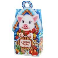 """Новогодняя подарочная коробка """"Символ"""" 500 гр, новогодняя упаковка 2019 года свиньи"""
