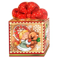 """Подарочная упаковка """"Винтаж"""", 300-400 гр, картонная новогодняя упаковка для конфет"""