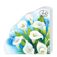 Салфетки бумажные 3сл., d=32 см, Rondo Белые лилии, 12 шт.