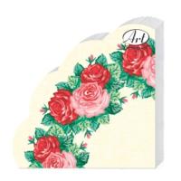 Салфетки бумажные 3сл., d=32 см, Rondo Венок из роз, 12 шт.