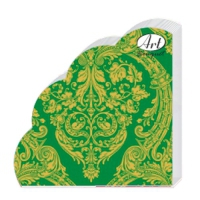 Салфетки бумажные 3сл. Rondo Золотой орнамент на зеленом, , d=32 см, 12 шт.