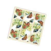 """Салфетки бумажные 3сл., 33x33, """"Бабочки и цветы"""", 12шт."""