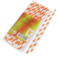 Трубочки бумажные белые с оранжевой полосой 6х197мм/ 25 шт