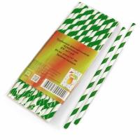 Трубочки бумажные белые c зеленой полосой 6х197мм/ 25 шт