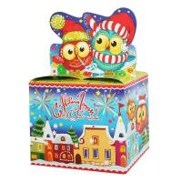 """Новогодняя упаковка """"Совушки"""", 800 гр, картонная подарочная коробка для конфет"""
